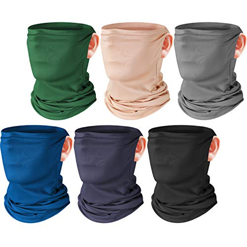 SATINIOR 6 Pieces Summer Face Cover UV Protection Neck Gaiter Sunscreen Breathable Bandana Black Grey Wood Green Bright Blue Apricot Dark Blue