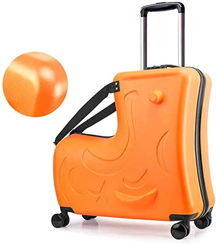 HongTeng Children trolley suitcase & storage bag, portable carry-on travel bag, Folding Trolley Ride On luggage carts, children rest luggage sets (Upgrade) (Color : Orange, Size : 24inch)
