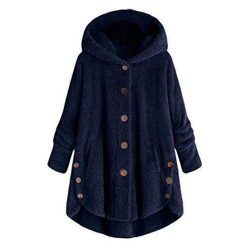 Azastar Damesjas met capuchon, oversized jack, elegante winter hoodie pullover lang gebreid jack winterjas fleece pluche dikke knoop wolmantel