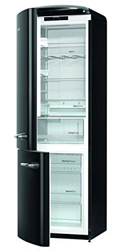 Gorenje ONRK 193 BK-L - Frigorifero combinato, A+++ altezza 194 cm, raffreddamento: 222 l, congelatore: 80 l, nero, NoFrost, cassetto ZeroZone (0 gradi), stile vintage, collezione retrò