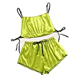 Lace Trim Satin Cami Top Sexy Lingerie Pyjamas Set Women V Neck Sleeveless Strap...