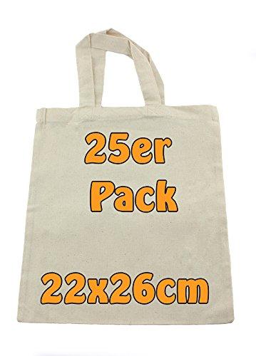 Cottonbagjoe | kleine Apothekertasche | perfekt zum Bemalen | Jutebeutel | Geschenktasche | unbedruckt | Bauwolltasche | DYI | 22x26cm | Öko-Tex 100 Standard Zertifiziert (Natur, 25 Stück)
