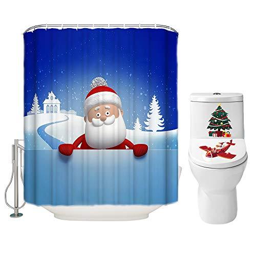 Weihnachts-Duschvorhang-Set für Badezimmer, niedlicher lustiger Weihnachtsmann, Winterurlaub, Polyester-Stoff, Dekoration mit Haken & WC-Deckelaufkleber, Weihnachtsdekoration, 72 x 72 cm