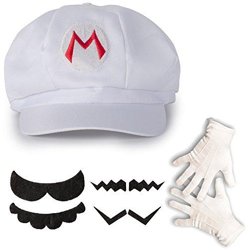 Katara 1659 - Super Mario set, muts + snor + handschoenen, kostuum bekleding carnaval Halloween, wit
