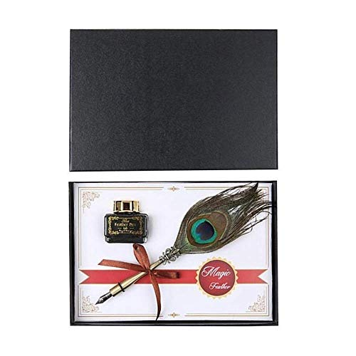 Pluma estilográfica de gama alta, 1 pluma de caligrafía, juego de tinta de escritura, caja de regalo de papelería con pluma estilográfica LCMUS (color: colores variados, tamaño: gratis)