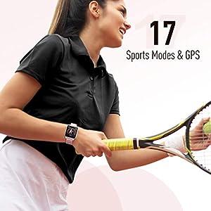 """Smartwatch Mujer, Hommie Reloj Inteligente Mujer 1.3"""" Táctil Completa, Pulsera Actividad Mujer IP68 con 17 Deportes, Pulsómetros, Monitor de Sueño, Seguimiento del Menstrual,Control de Musica y Cámara"""