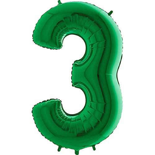 TOYLAND® Globo de Aluminio de 40 - Decoraciones de Fiesta - Colores y números Surtidos (Verde, número 3)