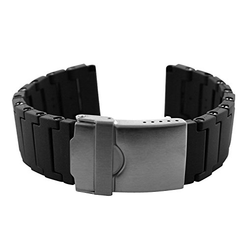 Replacement Black Polyurethane Link Bracelet Band 22mm for Luminox 3000 and 3900 Series Watches