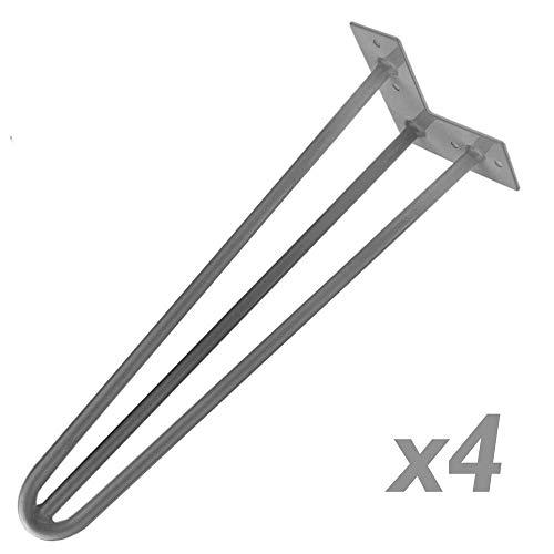 PrimeMatik - Tafel- en meubelpoten Stalen poten 3 stangen 71 cm 4-pack