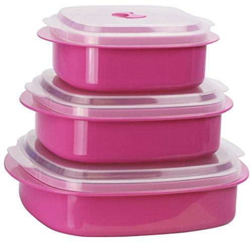 Calypso Basics by Reston Lloyd 6-Piece Microwave Cookware, Steamer and Storage Set, Magenta