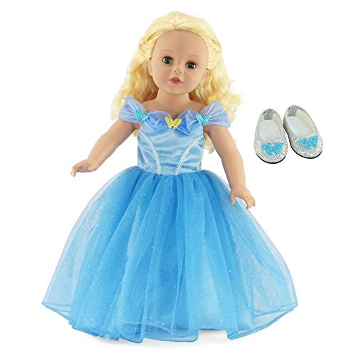 Emily Rose 18 Inch Doll Clothes for American Girl Dolls | Princess Cinderella Ball Gown Doll Dress with Sparkly Glass Slippers Doll Shoes | Fits 18' Our Generation and Journey Girls Dolls