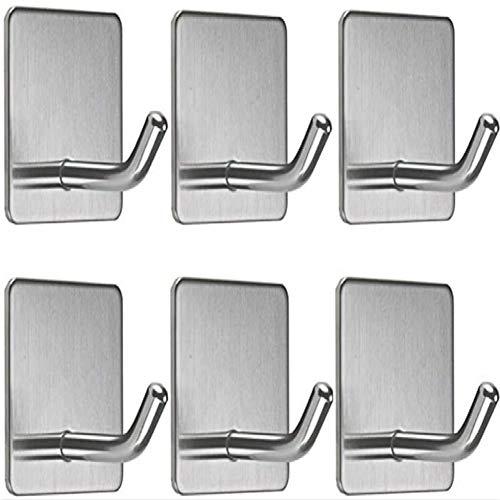 Haucy Ganchos de acero inoxidable autoadhesivos, toallero de pared con pegamento instantáneo, para cuarto de baño, pared, 6 unidades, 45 x 45 x 30 mm