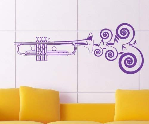 Wandtattoo Trompete, Musik Instrument Noten Aufkleber Jazz Sticker Tattoo 1H008, Farbe:Azurblau glanz;Breite:120 cm