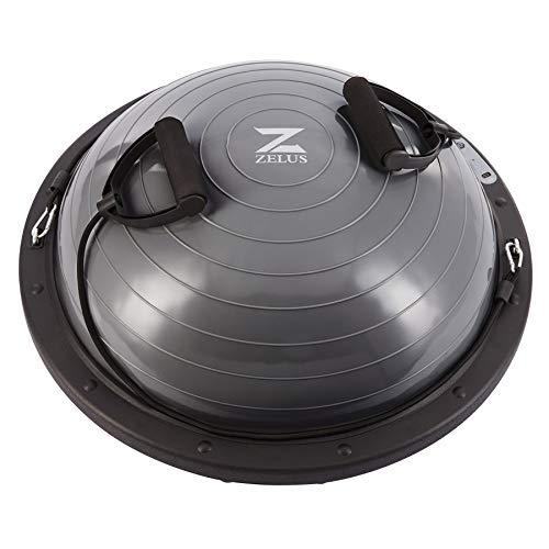 Z ZELUS 60cm Palla di Equilibrio, 300kg Pedana di Equilibrio con Base Antiscivolo, 20cm Alta Mezza Sfera Fitness Cupola Palla con 2 Elastici e Cavo USB per Casa (Argento)