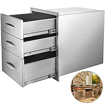 Mophorn 18x23 Inch Outdoor Kitchen Drawers Stainless Steel Triple Access with Chrome Handle, 18 x23 x 23 Inch