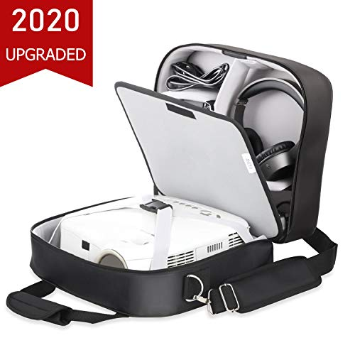 Video Projector Case, Large Carry Case for Projectors - Compatible with DBPOWER, ViewSonic, Epson, BenQ and More, Scratch-Resistant, Waterproof, with Shoulder Strap and Customizable Dividers