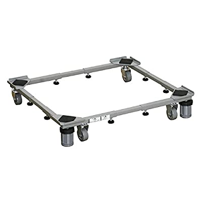 ZCXCC Appliance Trolley, Multi-functional Movable Adjustable Base Trolley 360° Rotate With 4×2 Swivel Wheels+4 Strong Feet +2 Tubes Floor Trays For Washing Machine Pedestal (4 Strong Feet)
