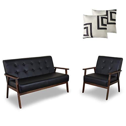 AODAILIHB Sofa Sets Living Room Couch Set Office Home Furniture Mid-Century Modern Faux Leather Wooden 2-Seater Loveseat Sturdy Wood Frame Lounge Chairs (2, Black)