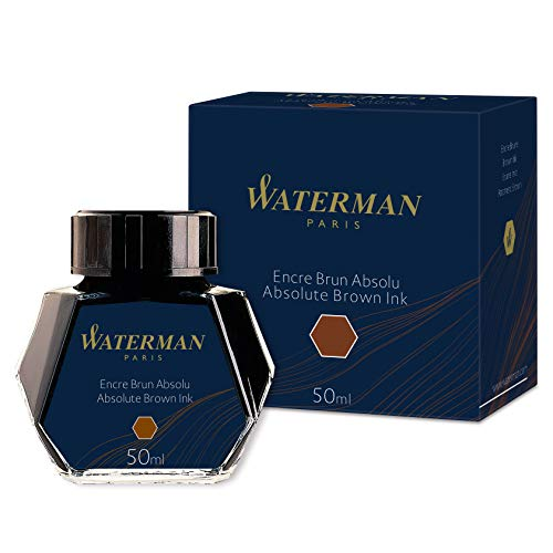 Waterman - Tinta para pluma estilográfica, marrón absoluto, frasco de 50 ml