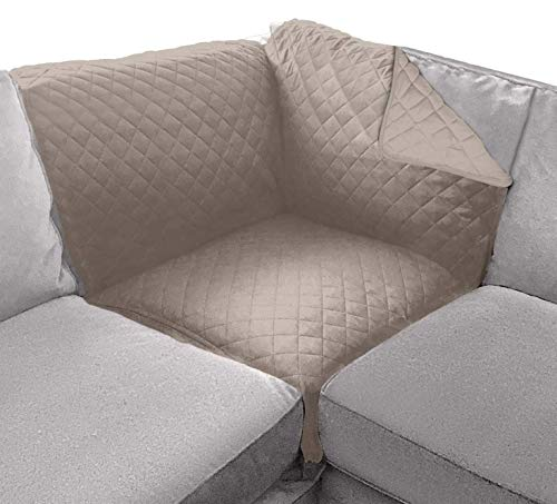 Sofa Shield Patented Corner Sectional Slipcover, Reversible Tear Resistant Soft Quilted Microfiber, 30x30 Inch, Durable Furniture Stain Protector with Straps, Washable Cover for Dogs, Kid, Light Taupe