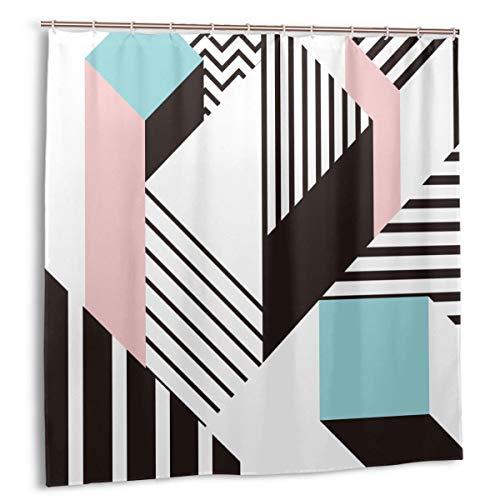 Blived Duschvorhang,Buntes geometrisches Muster von Memphis im modernen Bauhaus der abstrakten Formspaß,Wasserdicht Bad Vorhang mit Haken 150cmx180cm