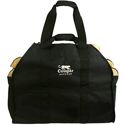 Cougar Outdoor - The Ultimate Log Carrier - 2 Handles, Heavy Duty, Standing, Waterproof, Lined Firewood Tote Bag - Perfect for Carrying Wood, Camping, Bonfires (Black)