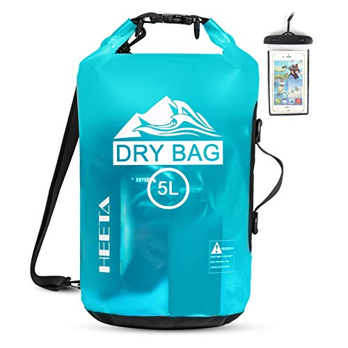 HEETA Waterproof Dry Bag for Women Men, 5L/ 10L/ 20L Roll Top Lightweight Dry Storage Bag Backpack with Phone Case for Travel, Swimming, Boating, Kayaking, Camping and Beach (Blue 5L)