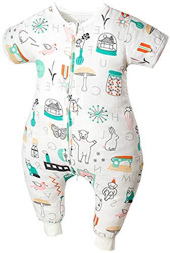 Chilsuessy Baby Sommer Schlafsack mit Füßen Kurzarm Kinder Sommerschlafsack Kinderschlafsack Pyjamas Overall Schlafanzug 100% Baumwolle (110/Baby Hoehe 105-115cm, Garten)
