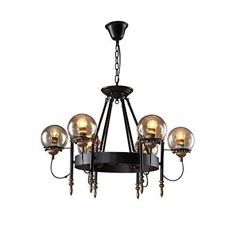 Vintage Loft hanglamp, smeedijzer, glas, bol, schaduw, kandelaar voor keuken, dining, hanglampen, bar, lamp, persoonlijkheid, rond, Beanstalk, retro, plafondlamp (maat: 6 licht).