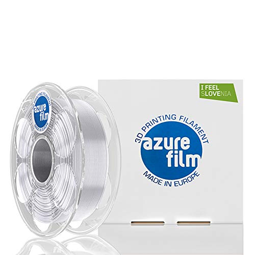 AZUREFILM PETG 3D Professional Printer Filament 1.75 mm - Must Have Printing Accessories for Bringing Your Ideas to Life - High Dimensional Accuracy +/- 0.02 mm, 1 kg Spool, Transparent - No Bubbles