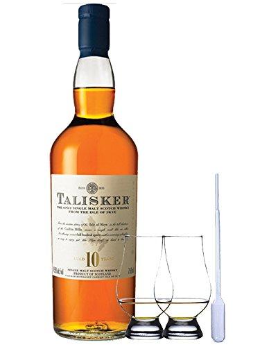 Talisker 10 Jahre Isle of Skye Single Malt Whisky 0,7 Liter + 2 Glencairn Gläser und Einwegpipette