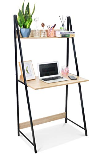 SpringSun 2-Tier Ladder Computer Desk with Storage Bookshelf, Modern Writting Table for Office and...