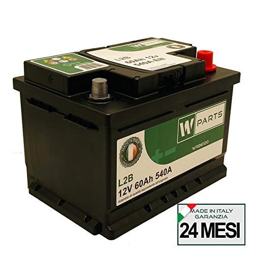 W-Parts Batteria Auto 60 Ah Bassa - 540A Spunto   Garanzia Italia  242x175x175   60Ah  
