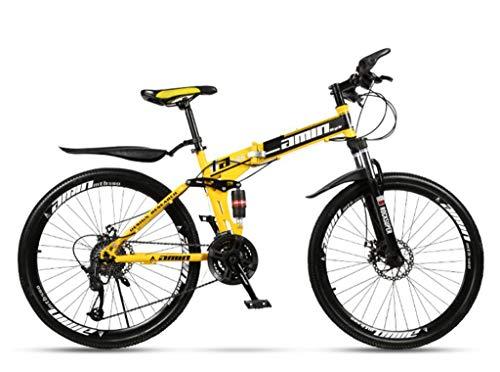Bicicleta montaña plegable para adultos cuadro acero alto carbono bicicleta montaña 26 pulgadas con frenos disco doble 27 velocidades suspensión completa antideslizante ciclismo carreras aire libre,B