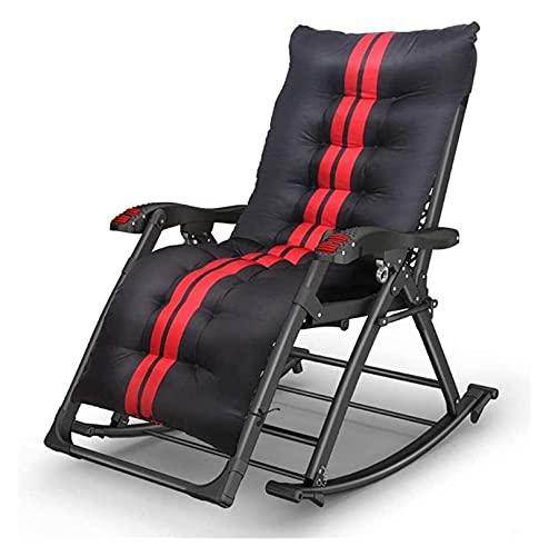 ZOUJIANGTAO - Sedia da salotto pieghevole per ufficio o all'aperto, sedia a dondolo da ospedale, regolabile, per patio (colore: sedia+cuscino, dimensioni: 68 x 180 x 90 cm)
