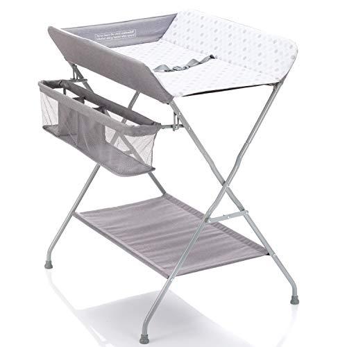 Fillikid Baby Wickelkombi - klappbare Wickelkommode, mobiler Wickeltisch mit Wickelauflage, Sicherheitsgurt und Ablagefächern, platzsparend & stabil - Punkte Grau
