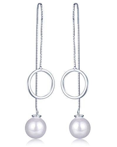 Unendlich U Fashion Damen Durchzieher Ohrhänger 925 Sterling Silber 10mm Perlen Ring Ohrringe Ohrgehänge Ohrschmuck, Silber