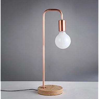 YanCui@ Lighting decorative Utility Table Lamp Retro Wood Design Continental Desk Lamp Art Bedroom Study Bedside Bed Table Lamp , copper sand