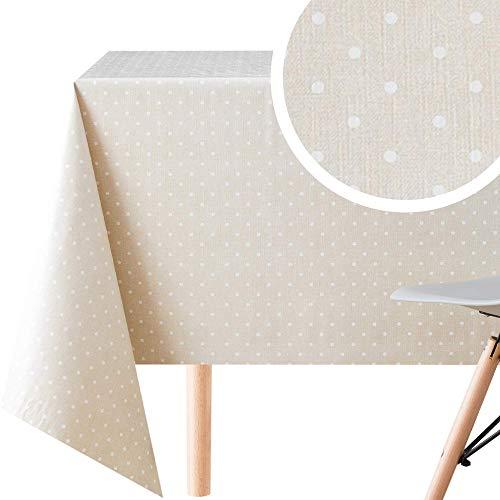 KP HOME Manteles Hule Modernos Hojas PVC Fácil de Limpiar - Grande Rectangular 300 x 140 cm Plastico Mesa de Vinilo Plastificado Fácilmente Mantel Beige con Lunares