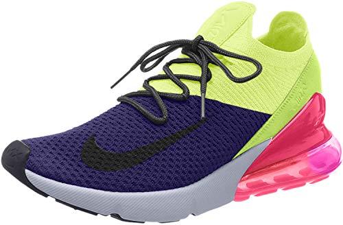Nike Men's Air Max 270 Flyknit Low-Top Sneakers, Multicolour (Regency Purple/Thunder Grey/Volt 501), 9.5 UK