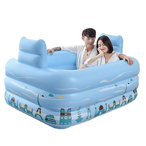 Baignoire Gonflable, Bleu de baignade Adulte d'épaississement Se Pliant de Double Baignoire (Taille : 160cm*124cm*55cm)