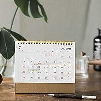 卓上カレンダー 2021年卓上カレンダーゴールドソリッドカラークラフト紙のカレンダーコイルスケジュールクリエイティブ卓上カレンダーの日付リマインダー卓上カレンダー カレンダー (Color : Large beige)