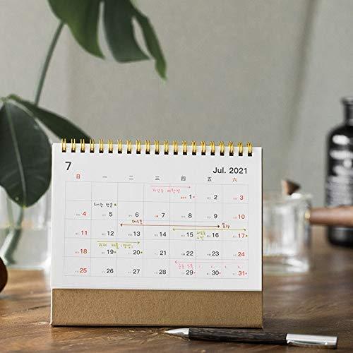 Calendario de escritorio 2021 Calendario de escritorio 3 Tamaño de la bobina Calendario creativa linda del papel de Kraft del calendario de escritorio Planificador for el orden del día del calendario