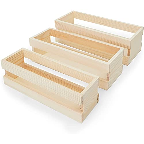 Bright Creations Wooden Trays Set with Handle, Crates for Storage (Natural...