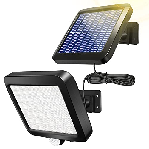 Solar Wall Light Outdoor with Motion Sensor, Shuniu 56 LEDs Ultra Bright IP65 Waterproof Separable Solar Porch Light, 16.4 ft Cord Solar Security Light for Patio Yard Deck Garage Driveway Porch Fence