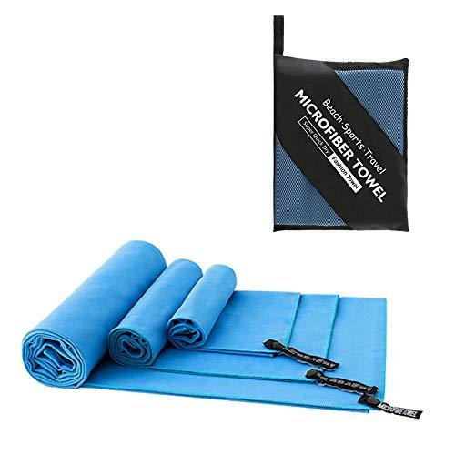 REDSHORE Toalla portátil de Secado rápido, Toalla Deportiva Absorbente y de Microfibra, Toalla de Hielo refrigerante Adecuada para Viajes, Camping, Gimnasio, 3 Paquetes (Blue)