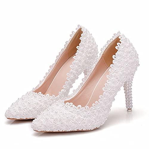 Zapatos De Novia para Mujer, Zapatos De Boda, Punta Cerrada, Tacón Alto,...