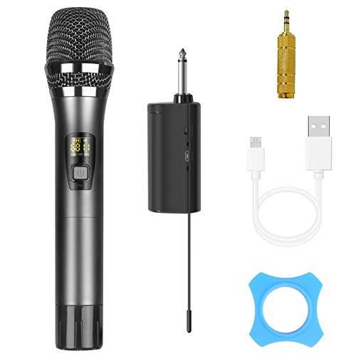 Micrófono Inalámbrico, Micrófono Dinámico de Metal UHF con Mini Receptor, Enchufe de 3,5mm/6,25 mm para Amplificador, Sistema PA, Karaoke, Conferencia KTV Fiesta Canto Podcast DJ (Distancia de 60m)