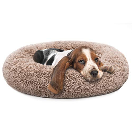 MIXJOY Orthopedic Dog Bed Comfortable Donut Cuddler Round Dog Bed Ultra Soft Washable Dog and Cat Cushion Bed (30'' x 30'') (Brown)