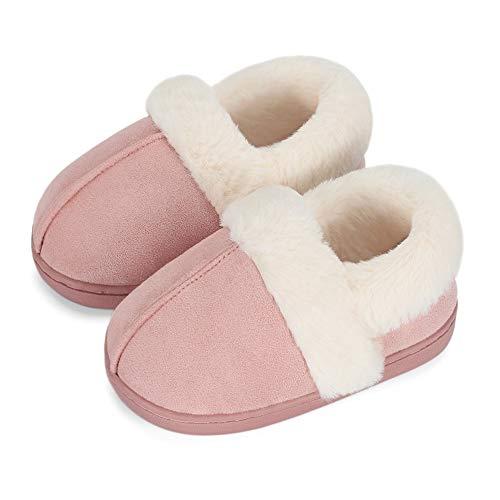 LACOFIA Barn pojkar flickor vintertofflor barn minnesskum toffel varm fleece halkskydd hemskor, - Rosa - 31/32 EU